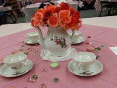 purple rose tea party centerpieces