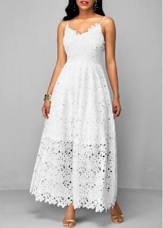 rotita.com - unsigned High Waist Spaghetti Strap White Lace Dress - AdoreWe.com