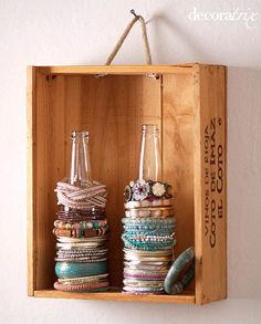 DIY Crate Wall Storage: Hang on Rope Handle (+ small soda bottles: a great way to store bracelets)