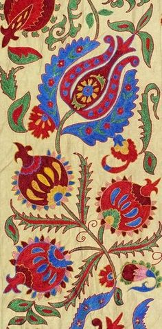 - stitchery-UZBEK Ottoman Silk Handmade Embroidery Suzani - Closely imitated Turkish motifs, in applique rather than weaving or woodblock. Motifs Textiles, Textile Patterns, Embroidery Patterns, Print Patterns, Pattern Art, Pattern Design, Art Textile, Motif Floral, Islamic Art