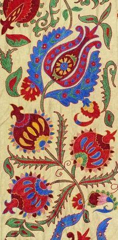 Tracy Porter..poetic wanderlust...- stitchery-Uzbek Ottoman silk handmade embroidery Suzani - [someone else's caption, very slightly modified]