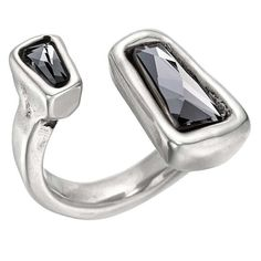 Silver-plated ring with two black Swarovski crystals with geometric shape on each of the ends. Swarovski Crystal Rings, Crystal Pendant, Crystal Jewelry, Silver Jewelry, Pendant Jewelry, Jewelry Stores, Jewelry Box, Jewelry Rings, Women Jewelry