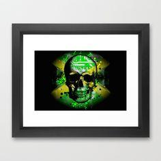 Jamaica circuit Skull. Framed Art Print by seb mcnulty - $32.00