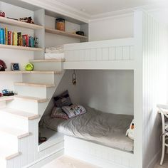 Small children's room with bunk-bed cabin and stairs