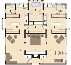 "The master wing of this house is laid out to provide ""his and her"" suites with some shared spaces in between. For maximum privacy, each person has a private study, dressing room, and toilet facilities. Rather than having the bed in the middle of a large room, it is tucked into an alcove that is open to separate study spaces on both sides of the bed. This alcove can be closed off with sliding panels to lend privacy to the early crasher or late sleeper. Flex workroom is a laundry."