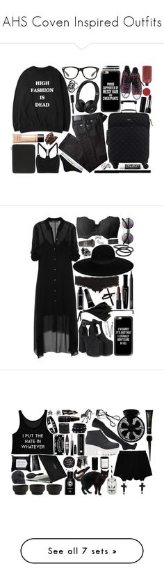 """""""AHS Coven Inspired Outfits"""" by soft-dreamy-girl ❤ liked on Polyvore featuring Converse, Casetify, H&M, Chanel, Kate Spade, BRAX, Smythson, adidas, Calvin Klein and Chapstick"""