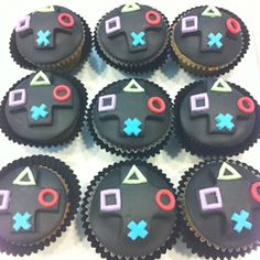 Playstation cupcakes Matt has a birthday coming up and Im a little tired of making guitar cakes! - Playstation - Ideas of Playstation Video Game Cakes, Video Game Party, Birthday Games, Birthday Parties, 9th Birthday, Cake Birthday, Ps4 Cake, Cupcake Toppers, Cupcake Cakes