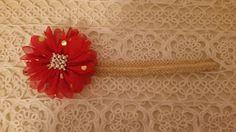 Headbandslatina              : Banda dorada con rojo