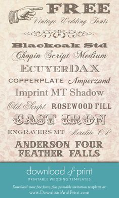My favorite free vintage #wedding fonts. Find some of these on the vintage invitations at #downloadandprint.