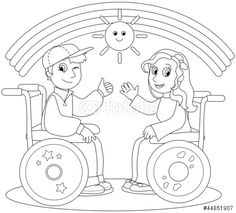 Coloring illustration of smiling boy and girl on wheelchair. Free Coloring Pages, Coloring Sheets, Adult Coloring, Coloring Books, Clipart, Doodle People, Special Needs Kids, Watercolor Pencils, School Projects