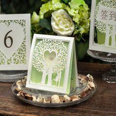 50ks Doprava zdarma Zelený strom pozvánka pro svatební nevěsta ženich Zásnubní svatební pozvánka obálky & Seal Matrimonio