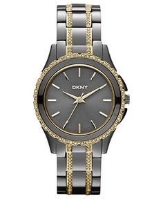 Ohmygosh! love! DKNY Watch, Women's Crystal Two-Tone Ion-Plated Stainless Steel Bracelet | Macy's