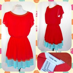 48202b85ac Crimson Red Chiffon Colorblock Dress Sz M or 6/8 Vibrant red colorblock  dress from