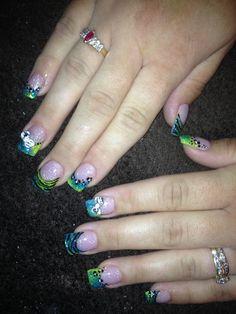 love the colors and animal prints!  Acrylic nail design Saras Nails | Nail acrylic nail designs