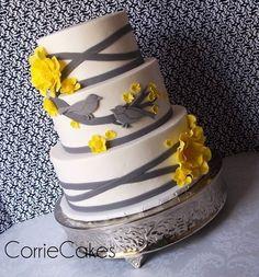 Yellow/Gray Birds - by Corrie @ CakesDecor.com - cake decorating website