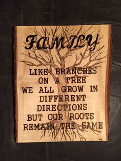 'Family' wood burnt art