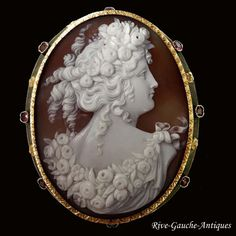 18kt gold & silver large Museum Quality Victorian Shell Cameo of Goddess…