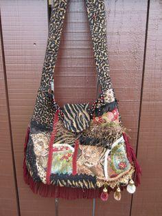 Crazy Quilt, Animal Print, Bohemian Bag, Hobo, Gypsy Style, Purse