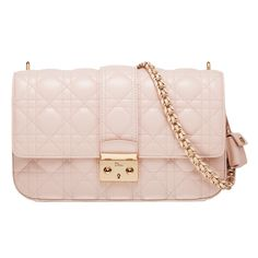 """MISS DIOR - Rose Poudre leather """"Miss Dior"""" bag, leather plaited chain."""