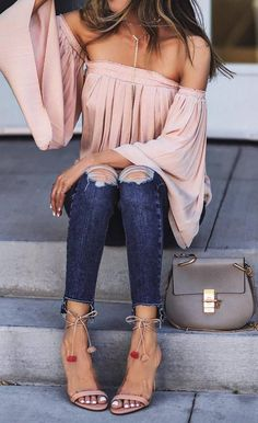 A blush off shoulder top that`ll have everyone under your spell | Pom pom shoes | Spring outfit ideas | Summer style inspiration