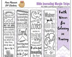 Save 50 24 Printable Coloring Bible Journaling Margin Strips Wide Margins Or Planner Sticker Bookmarks 6 Sets Price Of 25