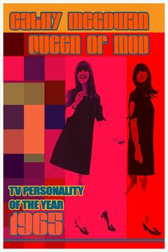 Items similar to 1965 CathyMcGowan, Queen of Mod, TV personality of the year mounted photo print on Etsy Cathy Mcgowan, Swinging London, Mod Fashion, Chic Outfits, Pop Art, 1960s, Personality, Nostalgia, Queen