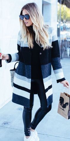 Striped coat + leather pants.
