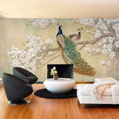 Modern Wallpaper for Living Room Retro Peacock Flower Buds Painting Wall Paper Bedroom Background Mural Sofa Painting Home Decor Custom Wallpaper, Photo Wallpaper, Wall Wallpaper, Modern Wallpaper, Watercolor Wallpaper, Living Room Bedroom, Living Room Furniture, Living Room Decor, Peacock Living Room