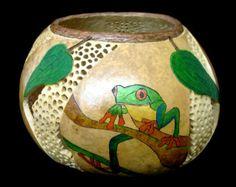 Thunderbirds Carved Gourd Art Bowl