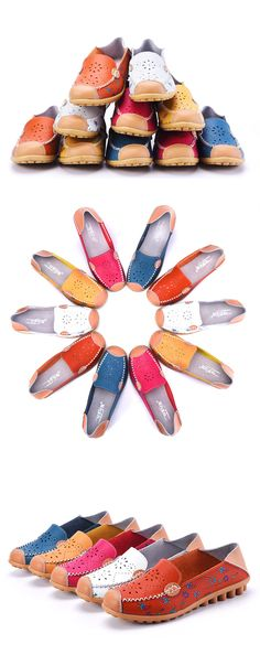 US$14.46 Floral Print Hollow Out Breathable Color Match Casual Slip On Flat Shoes