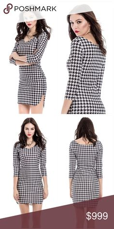 ✨COMING SOON✨ Sexy Houndstooth Dress Product Details Style:	Sexy & Club Material:	Polyester Silhouette:	Sheath Dresses Length:	Mini Neckline:	Off The Shoulder Sleeve Length:	3/4 Length Sleeves Pattern Type:	Plaid With Belt:	No Season:	Summer Weight:	0.1930kg Package Contents:	1 x Dress Dresses Mini