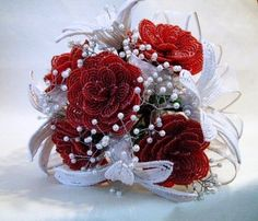 Rose and lily french beaded flower bridal by BuddingCreations, $325.00