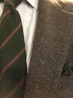 Flannel suit and a cashmere tie