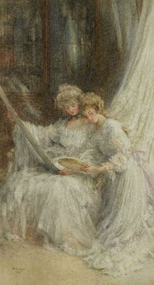 """""""Sisters"""" by Mary L. Gow (English, 1851-1929)"""