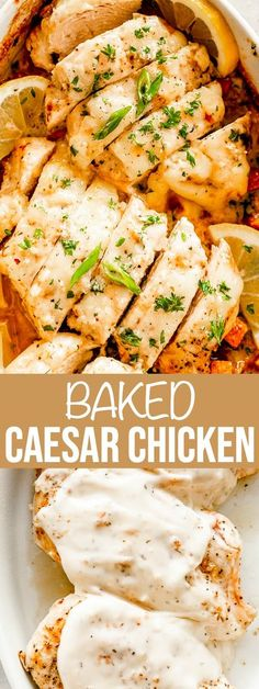 This 5-ingredient Baked Caesar Chicken Recipe makes the juiciest baked chicken breasts you'll ever eat! Covered in Caesar dressing and melty cheese, they're full of flavor and easy to make. Juicy Baked Chicken, Baked Chicken Breast, Chicken Breasts, Quick Easy Meals, Easy Dinner Recipes, Dinner Ideas, Easy Recipes, Weeknight Recipes, Dinner Menu