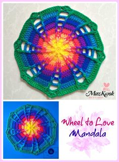 """This mandala is a stunning rainbow of colors! It's a fantastic crochet project you'll treasure. Perfect for gift giving, too! This wonderful free pattern, the """"Wheel to Love&#8221…"""