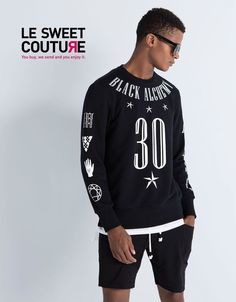 BERSHKA (ZARA GROUP) Number 30 print sweatshirt black NEW SEASON R.7298/256 #BERSHKA #SweatshirtCrew