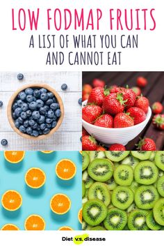 Some fruit are off limits on the low FODMAP diet. Fortunately, there are still many different types that are safe to enjoy. Here's a list of low FODMAP fruits to eat and high FODMAP fruits to avoid. #dietitian #nutritionist #nutrition Breakfast Dessert, Dessert For Dinner, Foods To Avoid, Foods To Eat, Low Fodmap Fruits, Fruit List, Health Routine, Food Intolerance, Food Charts