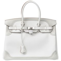 limited edition HERMES BIRKIN 35 ghillies collection at 1stdibs ❤ liked on Polyvore featuring bags, handbags, hermes, bags birkin, hermes bag, purses, hermes handbags, hermès, white purse and white bags