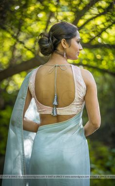 Girl Next Door Fashion. Try to understand and apply what you just read. This article is going to teach you some things you don't know about fashion. Beautiful Blouses, Beautiful Saree, Beautiful Indian Actress, Grey Saree, White Saree, Saree Backless, Sexy Blouse, Saree Blouse, Sleeveless Blouse