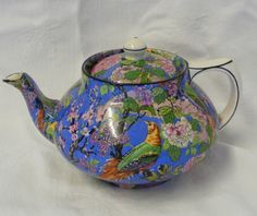Vintage Crown Ducal CHINTZ Ware Small Teapot Exotic Bird