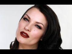 Velvety oxblood/burgundy lip and LASHES // Khloé Kardashian Make-up Tutorial.