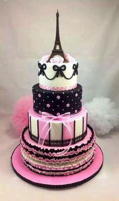 I'd love to have a birthday cake like this. I would have to have a birthday party, first though. So fabulous! Paris Birthday Cakes, Paris Themed Cakes, Paris Birthday Parties, Paris Cakes, Cool Birthday Cakes, Paris Party, Pretty Cakes, Cute Cakes, Beautiful Cakes