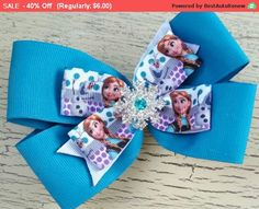 SALE Anna Hair Bow / Frozen Inspired Bow / Stacked by DorisHalo SALE! Anna Hair Bow / Frozen Inspired Bow / Stacked Hairbow / Toddler Hair Bow / Basic Boutique Hair Bow / Turquoise Bow / Large Hair Bow