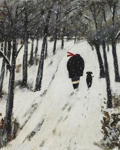 Winter painting by Gary Bunt Winter Illustration, Dog Illustration, Illustrations, Painting Snow, Winter Painting, Painting & Drawing, Man And Dog, Theme Noel, Naive Art