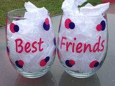 Best Friends Always Forever Funny Fun Stemless by CrissCrossCraft