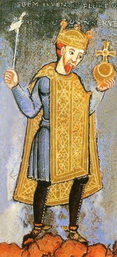 Heinrich III. mit Reichsapfel und Zepter