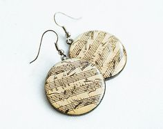 Round musical earrings - Sheet music jewelry
