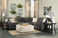 """The Alenya 3-Piece Sectional from Ashley Furniture HomeStore (AFHS.com). The sleek style of the track arms along with the boxed seat and back cushions all supported by dark finish legs makes the warm inviting Vintage Casual design of the """"Alenya-Charcoal"""" upholstery collection the perfecting addition to the relaxing décor of any living area."""