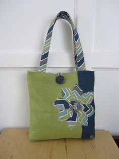 Green tote bag Navy blue tote bag Flower by BerkshireCollections, $44.00